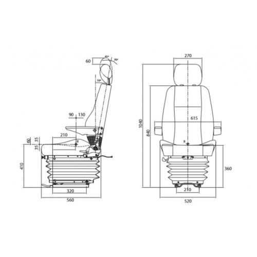 ASIENTO LUJO RM3102 COMPLETO 24 V