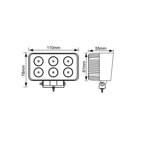 FARO DE TRABAJO RECTANGULAR 6 LEDS ALTA INTENSIDAD 18W 10-30V 1200 Lm
